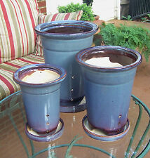 "SET OF 3 BLUE 11"" 10"" 8"" ROUND CERAMIC PLANTERS WITH SAUCERS FLOWER POTS DECOR"
