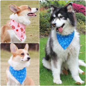 Dogs Double Layer Triangle Scarf Pet Bandana Bib Adjustable Buckles Pink/Blue