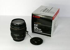 Canon EF 85mm f/1.8 USM Prime Portrait Lens w/ UV Haze Filter & Lens Cap Holder