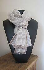 Echarpe/cheche 100% Coton homme/femme fines rayures  77 X 180cm aspect froissé