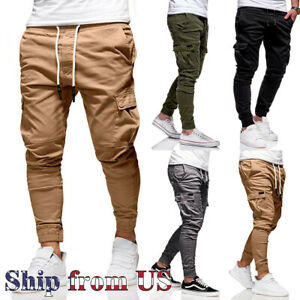 Man's Casual Joggers Pants Sweatpants Cargo Combat Loose Baggy Workout Trousers
