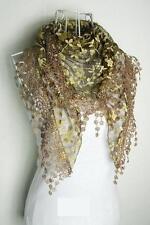 New Fashion Women's Lace Scarf Shawl Metallic Tassel Burnt Out Floral Print