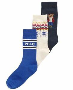 New Polo Ralph Lauren 8-9.5 Boys 3 PAIRS DRESS Socks SKI BEAR winter NAVY blue