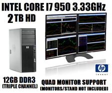 HP 4 MONITOR TRADING COMPUTER CORE I7-950 3.33GHz w/12GB✓2TB HD✓WIN10 DESKTOP+