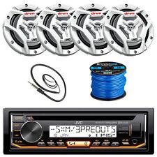 "JVC KDR99MBS Marine CD Player, 4x 300-W 6.5"" Speaker, Radio Antenna, 50Ft Wire"