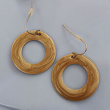 Ring Dangle Drop Hook Earrings #800128 Fashion Jewelry Brown Painted Metal 2 cm