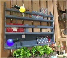Großes Tellerregal Holz Blau Landhaus Shabby Wandregal Gewürzregal NEU