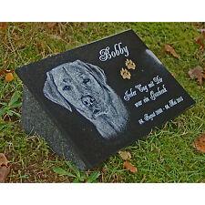 GRABSTEIN Grabplatte + Stütze beide Granit Hund g16s ►Foto+Text Gravur◄ 30x20 cm