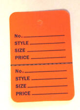 200 ORANGE Small (1.1/4 x1.7/8) Perforated Unstrung Price Consignment Tags