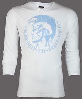 DIESEL Men LONG SLEEVE T-Shirt ACHEL Mohawk WHITE BLUE Casual Designer Jeans $68