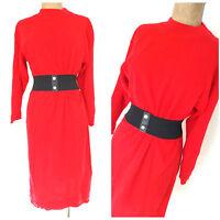 Vintage 80s Belted Sweater Dress Size Medium Red Midi Turtleneck Christmas XMAS