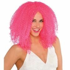 Adult Pink Crimped Wig Fancy Dress Neon Retro Costume Accessory