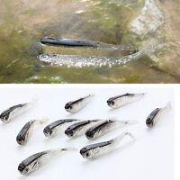10pcs 80mm Soft Silicone Tiddler Bait Fluke Fish Fishing Lure Saltwater Lures