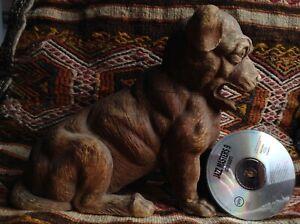 Antique 1826 Black Forest Dog Hunt Animal Art Handcarved Wood Statue Sculpture