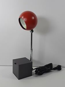 Vintage Michael Lax Lytegem Lightolier Red Telescopic Eyeball Sphere Desk Lamp