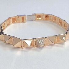Medium with One Diamond Spike Bracelet 14K Rose Gold Punk Rock Gothic Anita Ko S