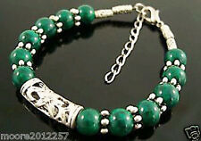 Fashion Tibet Silver green jade handmade Jewelry Bracelet