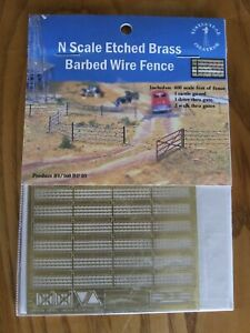 YESTERYEAR CREATIONS N Scale Etched Brass Barbed Wire Fence