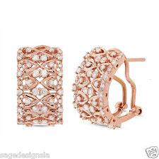 1.02 CT 14K Rose Gold Omega Back Huggie Round Cut Diamond Lace Earring F SI1