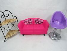 Barbie Furniture Lot Couch Corner Shelf Chair Nice Rare Great Gift! B41 3.4