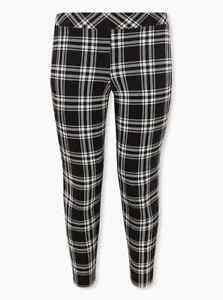 NWT Torrid Black and Ivory Lovely Plaid Full Length Leggings 1X Plus Size