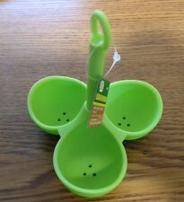 GREEN Silicone 3 Egg Holder, Boiler, Poacher, Dipper, Egg Cooker, Cookware