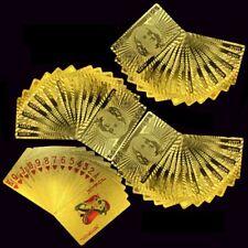 Luxury 24K Gold Foil Poker Playing Cards Waterproof Plastic Set w/ Gift Box