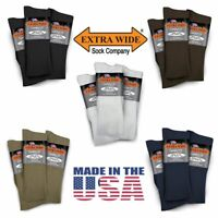 Extra Wide Dress Stretch Lycra Socks Regular King 3 PACK Made in USA BIG & TALL