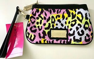 Betsey Johnson GI Betsey Wristlet Wallet Cosmetic Clutch Cheeta Pastel NWT