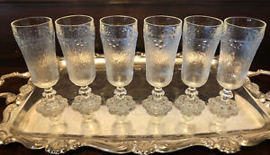 6 Vintage Ice Bark Glass Champagne Flutes Decorative Made In Italy MCM