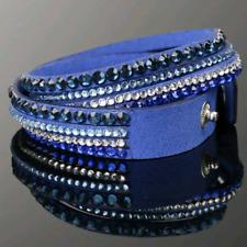 Double Wrap Crystal Slake Multi Strap Blue Bracelet made with Swarovski Elements