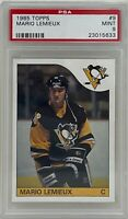 MARIO LEMIEUX 1985 Topps Pittsburgh PENGUINES NHL Hockey Rookie CARD #9 PSA 9