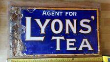 OLD LYONS TEA ORIGINAL RETRO ANTIQUE VINTAGE ENAMEL ADVERTISING SIGN