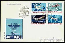 1984 Airplanes,Civil Aviation,ICAO,Boeing,Lockhead,Airport,Romania,Mi.4072,FDC