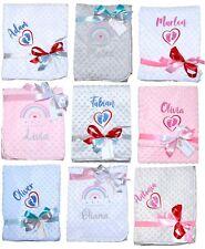 Babydecke mit Namen bestickt Minky Plüsch  Kuscheldecke Geschenk