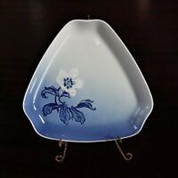 Vintage B&G Bing & Grondahl Denmark Blue Porcelain Floral Triangular Dish 1950's