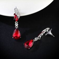 Ruby Red Austrian Crystal Drop Rhinestone Silver Plated Banquet Party Earrings