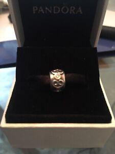 "New PANDORA Sterling & 14K Gold ""DOUBLE HEART DIAMOND"" CLIP 790382D"