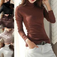Autumn Women Turtleneck Tops Long Sleeve Cotton Stretch Blouse Warm Slim Shirt
