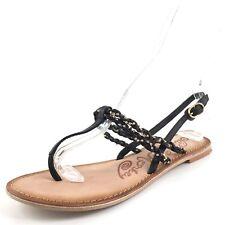 Naughty Monkey Fresh Fry Black Thong Slingback Sandals Women's Size 8.5 M*