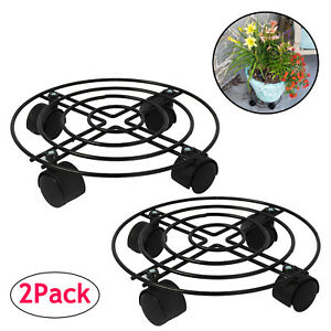 11 inch Heeler Metal Plant Tray Plant Caddy on Wheels Indoor Outdoor Garden Flower Pot Tray Home Rolling Tray Brown 2 Pcs