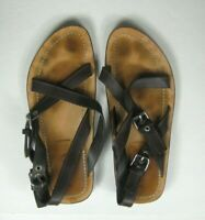 PRADA Men's Size 9.5 M Buckle Crisscross Leather Slide Sandals Brown Italy STAIN