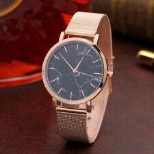 Fashion Women Girl Marble Surface Stainless Steel Band Quartz Analog Wrist Watch