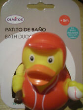 RUBBER DUCK BATH TOY SPORT BASEBALL FROM BIRTH ONWARDS - NEW ON CARD PACKAGING