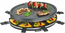 Clatronic Raclette Grill Table Grill round 8 People Anti-stick Coating