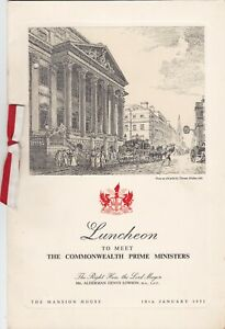 LUNCHEON MENU THE MANSION HOUSE, TO MEET THE COMMONWEALTH PRIME MINISTERS, 1951