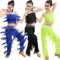 Blue Lady Tasseled Latin Dance Costumes Children Girls Salsa Dancewear Top&Pants
