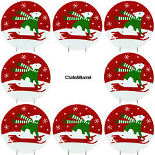 """Crate & Barrel SNOWPUP 7.5"""" Dessert Plate Set Red Green White Dog Sled Snow Pup"""