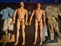 Lot of Two 1996 Hasbro Pawtucket RI GI Joe Action Figures with Clothe