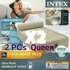 "2 Intex Queen 18"" Durabeam Ultra Plush Headboard Air Mattress W/ Built in Pump"